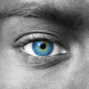 Blue eye extreme close up